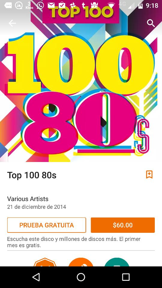 Google Play Music: 100 rolas ochenteras por $60! a centavos cada una!