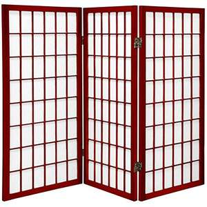 Amazon: Oriental Furniture 3-Feet Window Pane Small Shoji Privacy Screen Room Divider, 3 Panel Rosewood