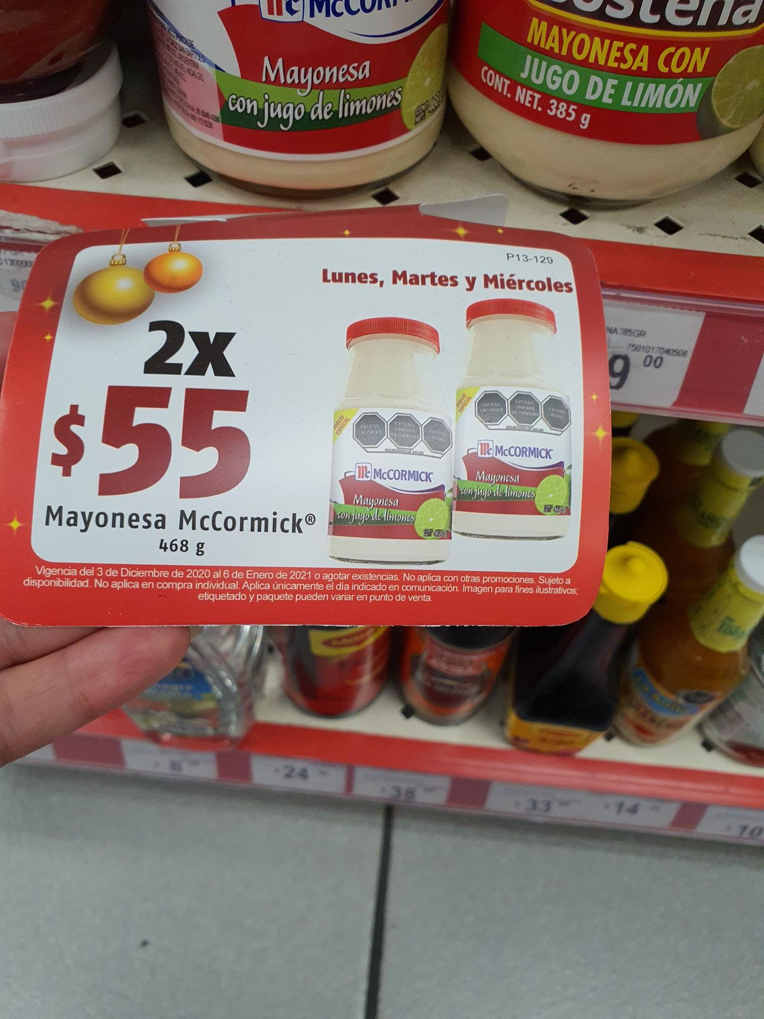 Oxxo 2 mayonesas mccormick 468 gr X $55