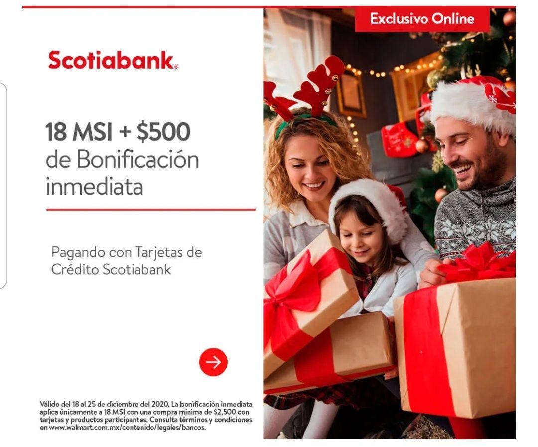 Scotiabank: 18 MSI y 500 de bonificación con tarjetas de crédito en compra mínima de $2,500 en Walmart
