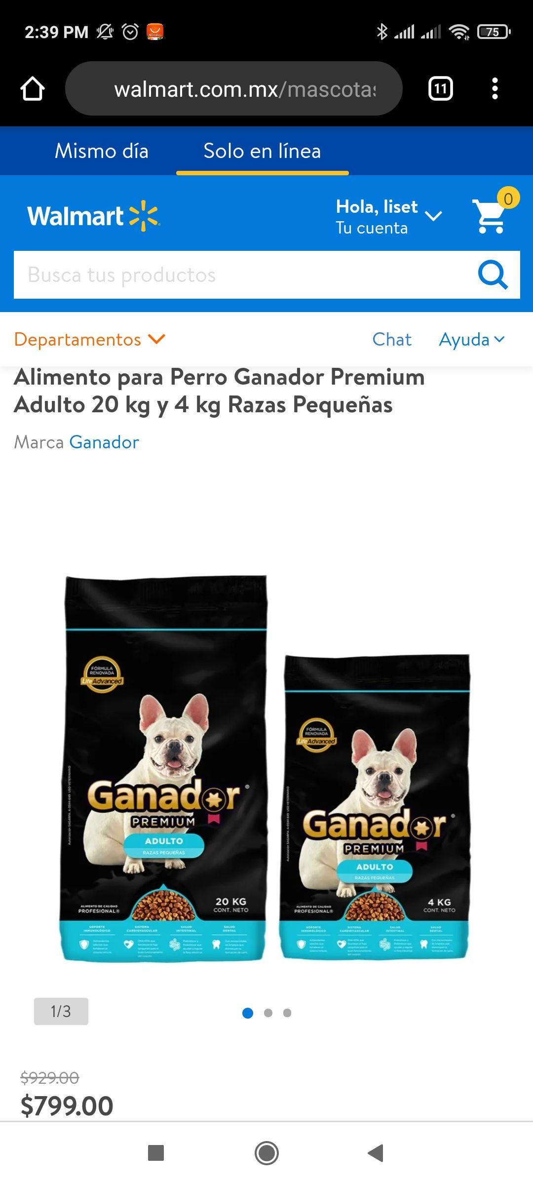 Walmart: Alimento para Perro Ganador Premium Adulto 20 kg y 4 kg Razas Pequeñas