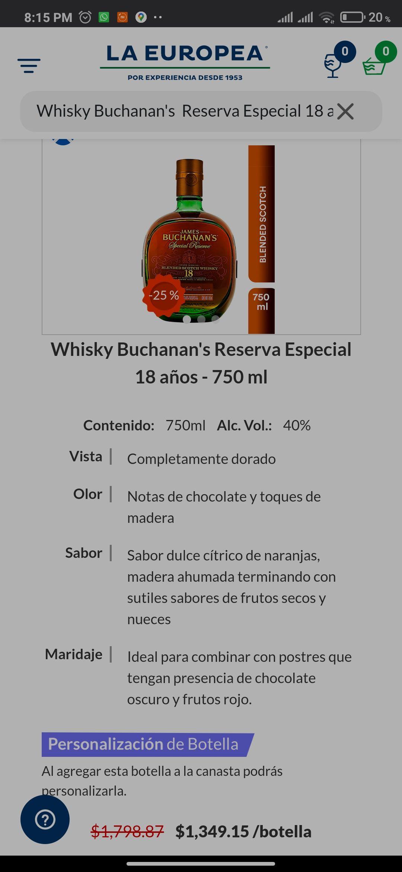 La Europea: Whisky Buchanan's Reserva Especial 18 años - 750 ml