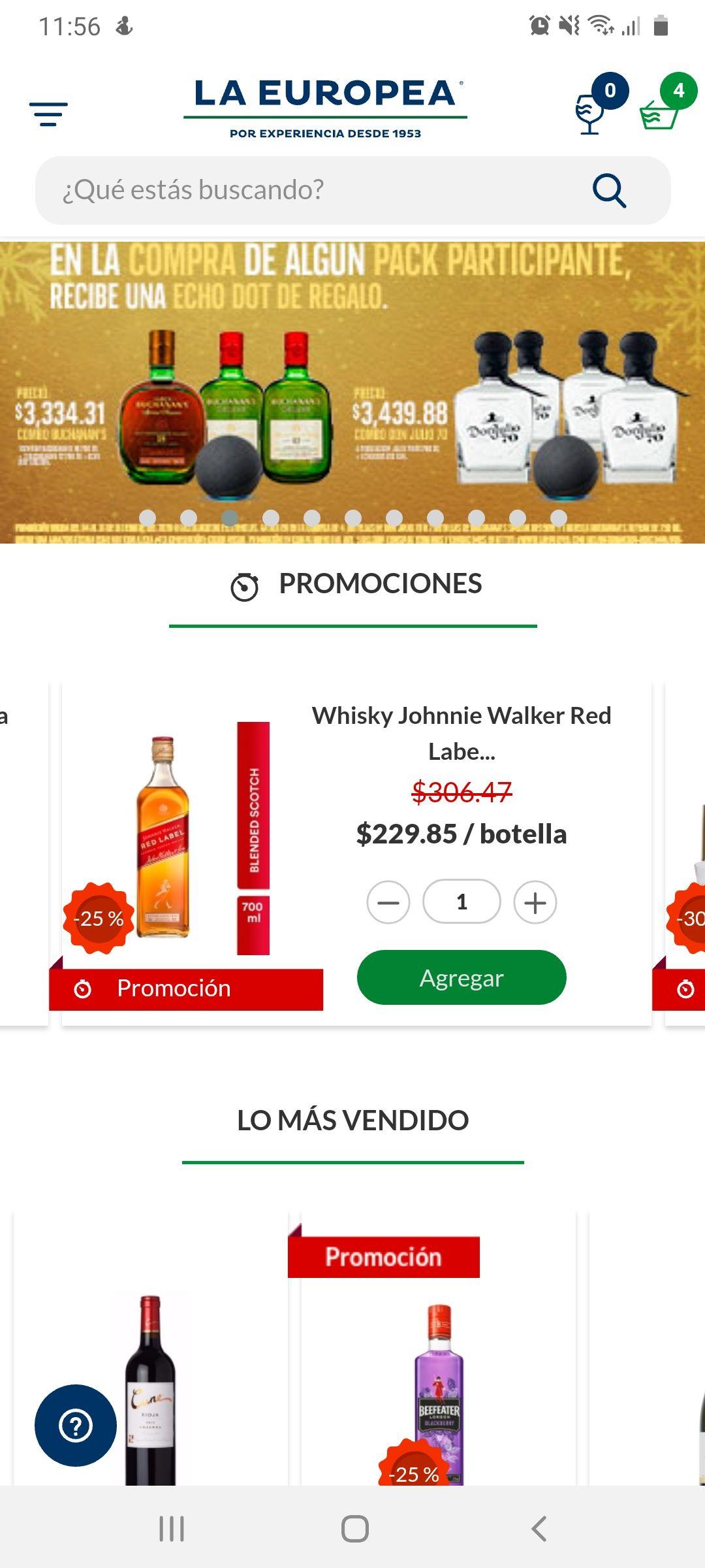 La Europea JW Red Label 25% de descuento