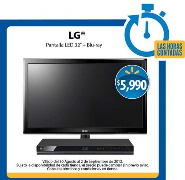 """Las Horas Contadas en Walmart: pantalla LED 32"""" y Blu-ray LG a $5,990 y más (actualizado)"""