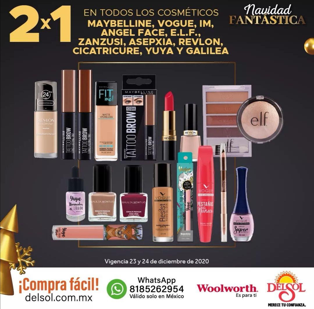 Del Sol y Woolworth: 2 x 1 en cosméticos Maybelline, Vogue, IM, Angel Face, E.L.F, Zanzusi, Asepxia, Revlon, Cicatricure, Yuya y Galilea