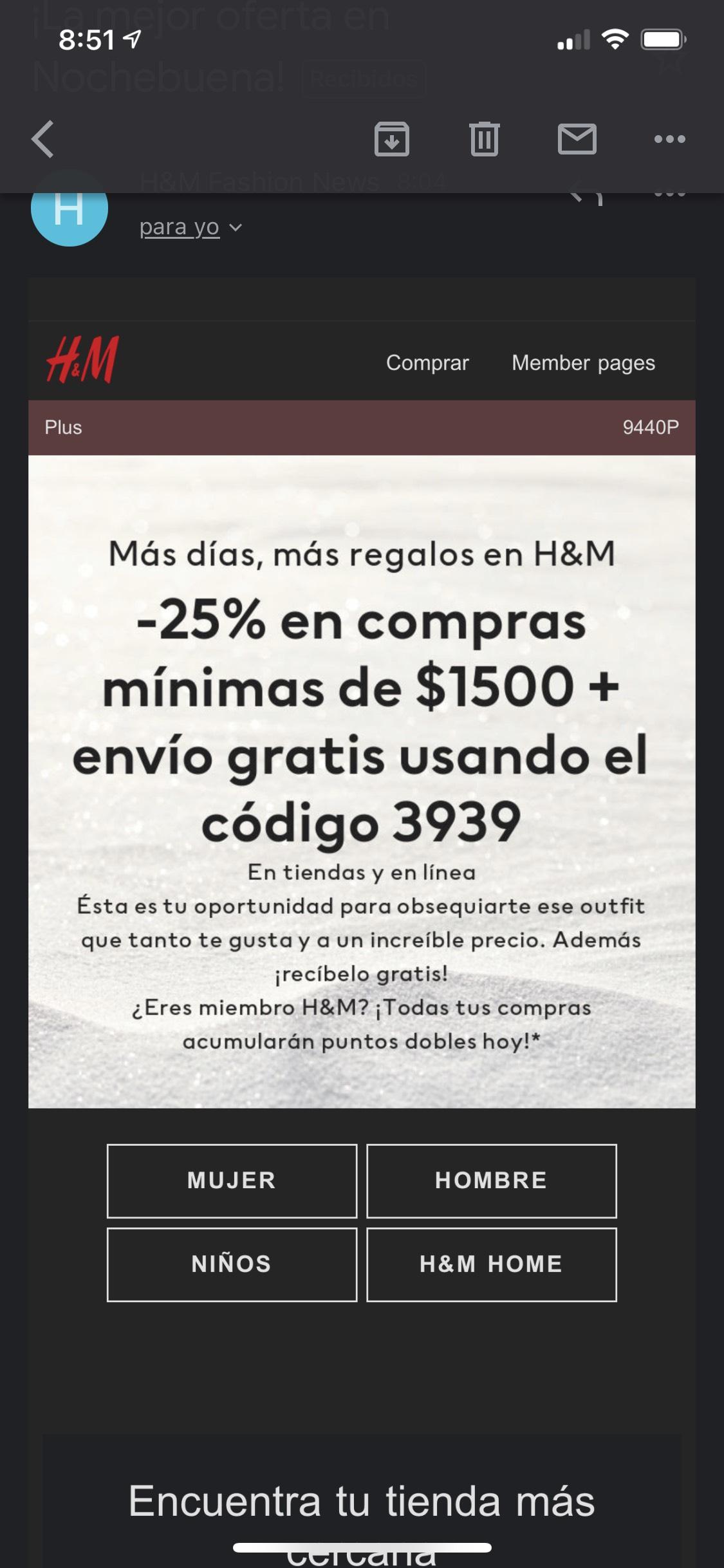 H&M 25% de descuento con código!!! Compra mínima de 1500 pesos