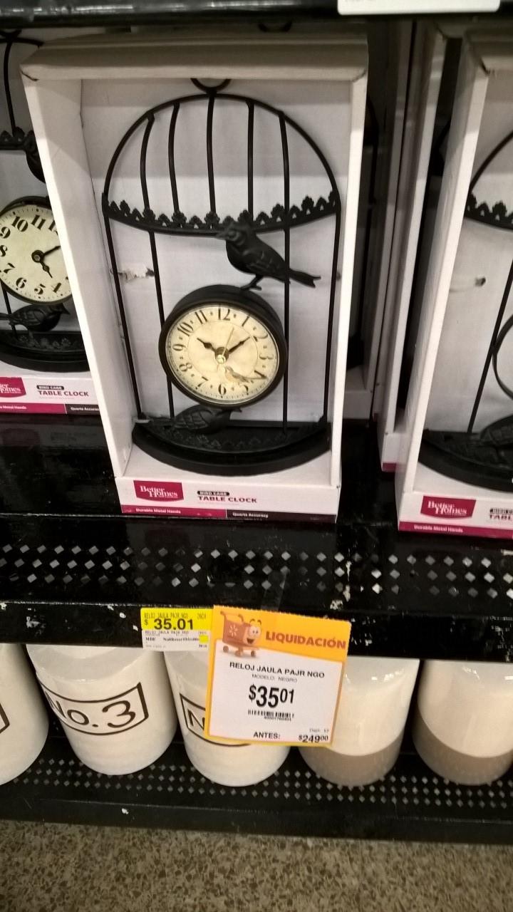 Walmart Deportiva Villahermosa: Reloj decorativo con forma de jaula y pajaritos; Bufanda y Banda Deportivos