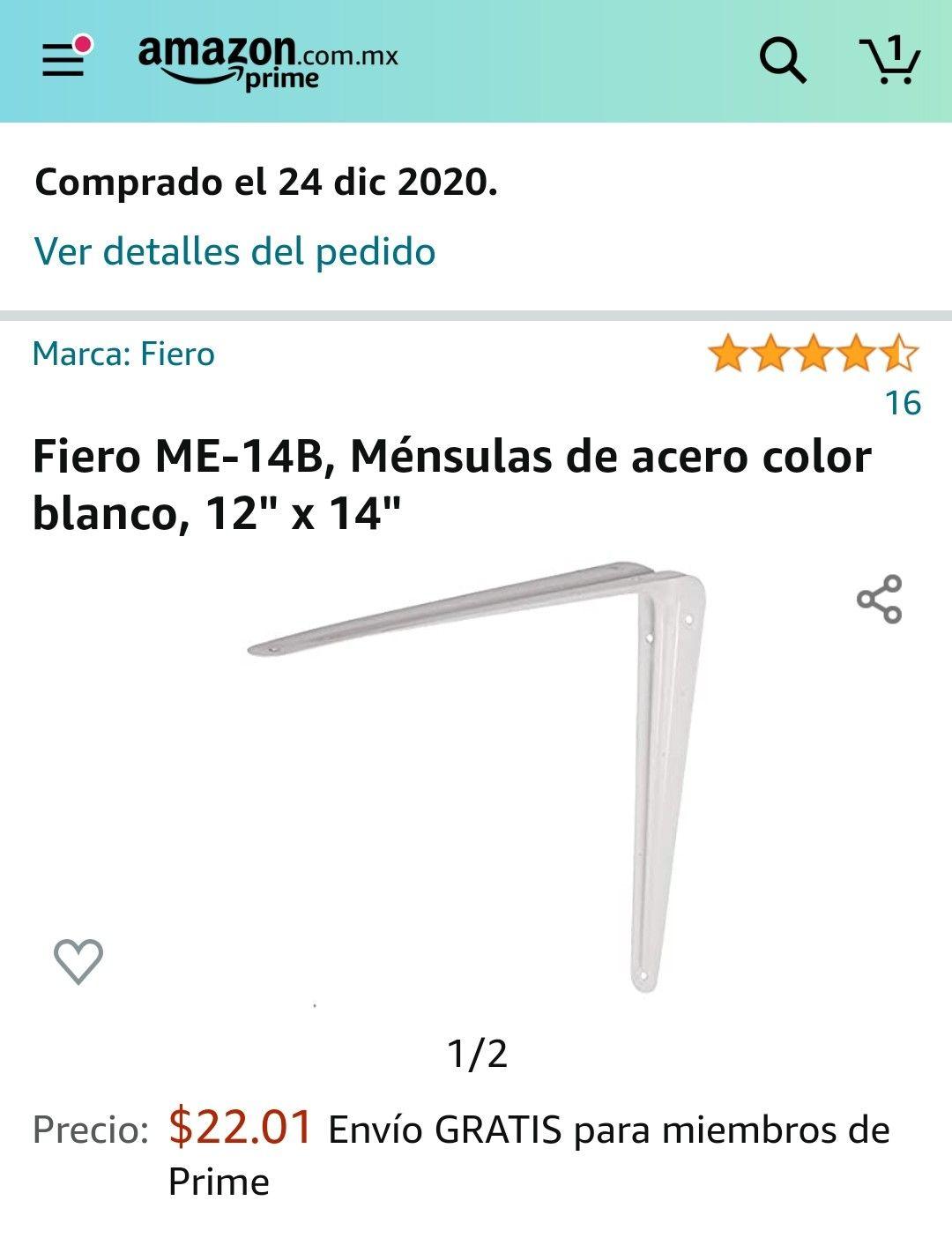 "Amazon: Fiero ME-14B, Ménsulas de acero color blanco, 12"" x 14"""