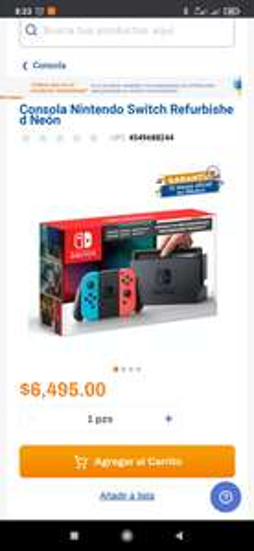 Chedraui, Nintendo switch neón refurbished