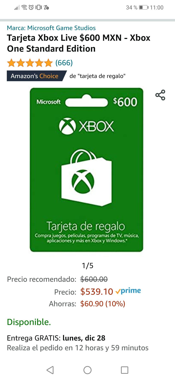Amazon: Tarjeta Xbox Live $600 MXN - Xbox One Standard Edition