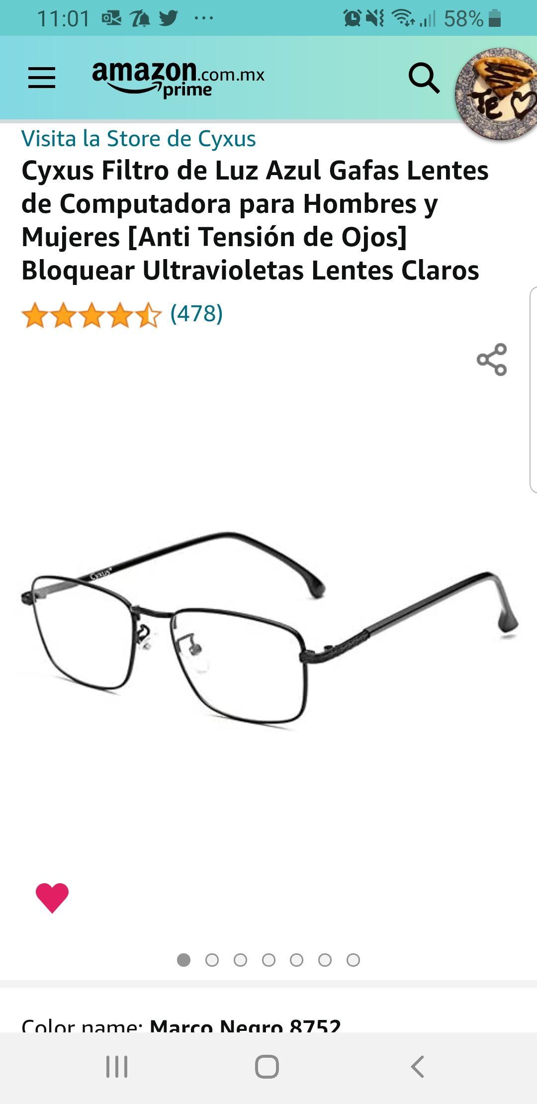 Amazon: Cyxus Filtro de Luz Azul Gafas Lentes de Computadora