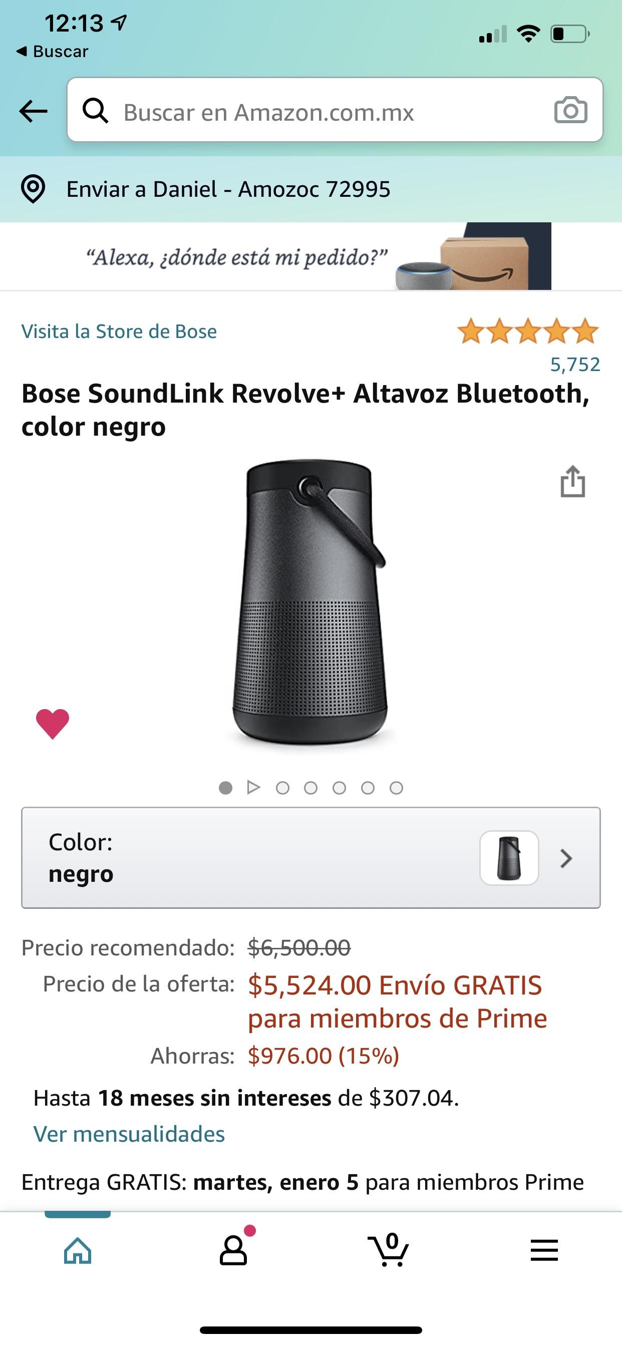 Amazon: Bose SoundLink Revolve+ Altavoz Bluetooth, color negro