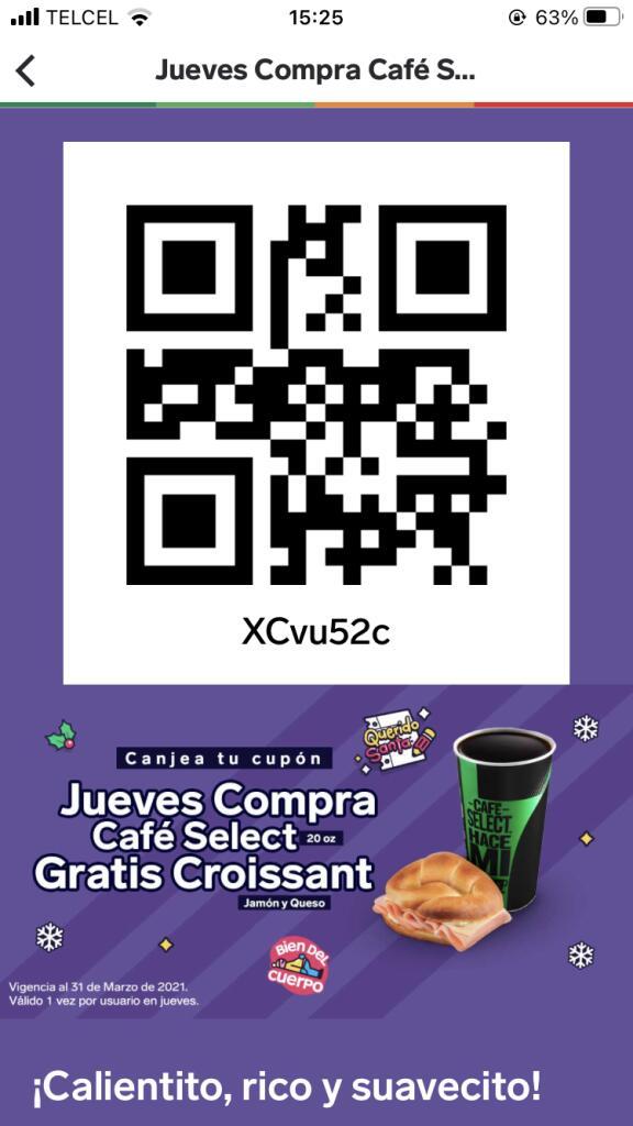 7 Eleven app: Croissant gratis en compra de Café Select