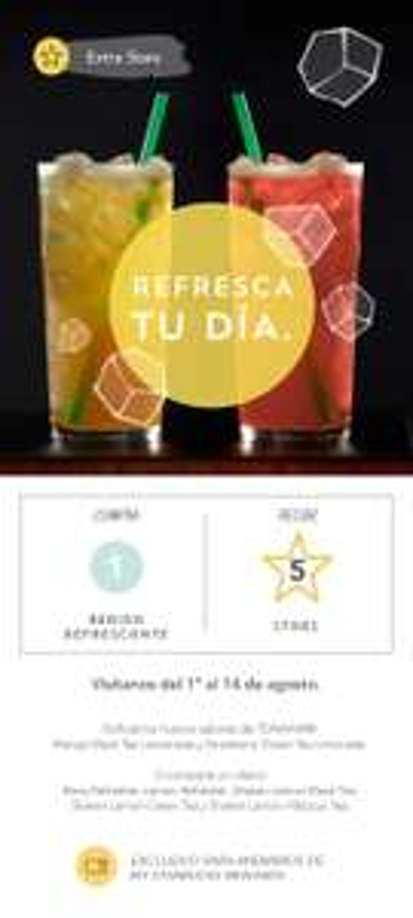 Starbucks Coffee: Compra una bebida y te dan 5 estrellas