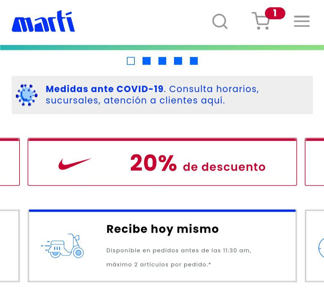 Martí: 20% de descuento en Nike, Puma, Reebok...
