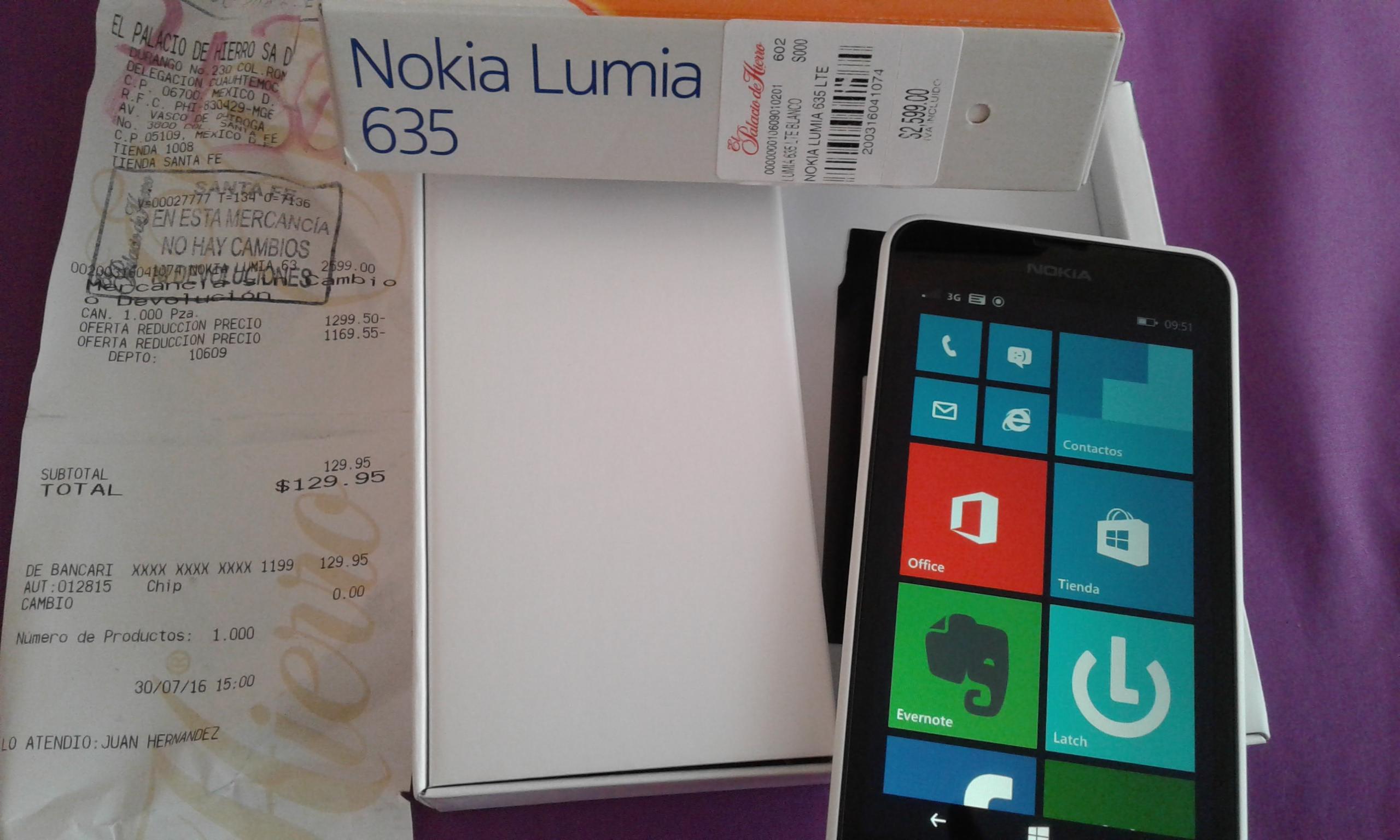 Palacio de Hierro: Lumia 635 LTE de $2,599 a $129