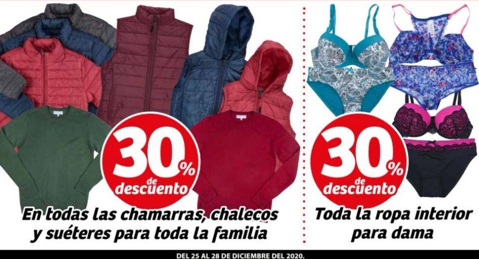 Soriana Mercado y Express: 30% de descuento en chamarras, chalecos y suéteres para toda la familia y en ropa interior para dama