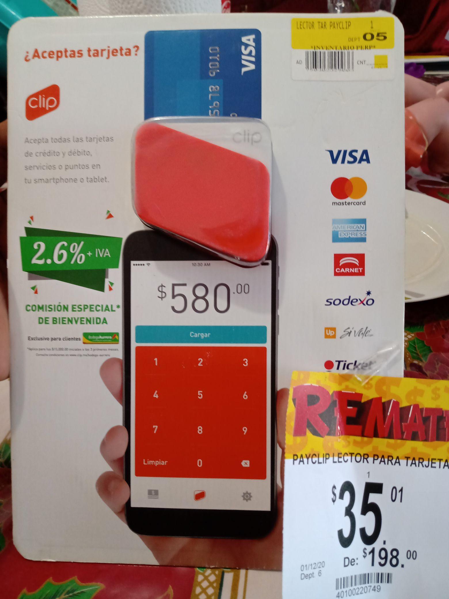 Lector CLIP tarjetas crédito y débito Bodega Aurrerá Colima
