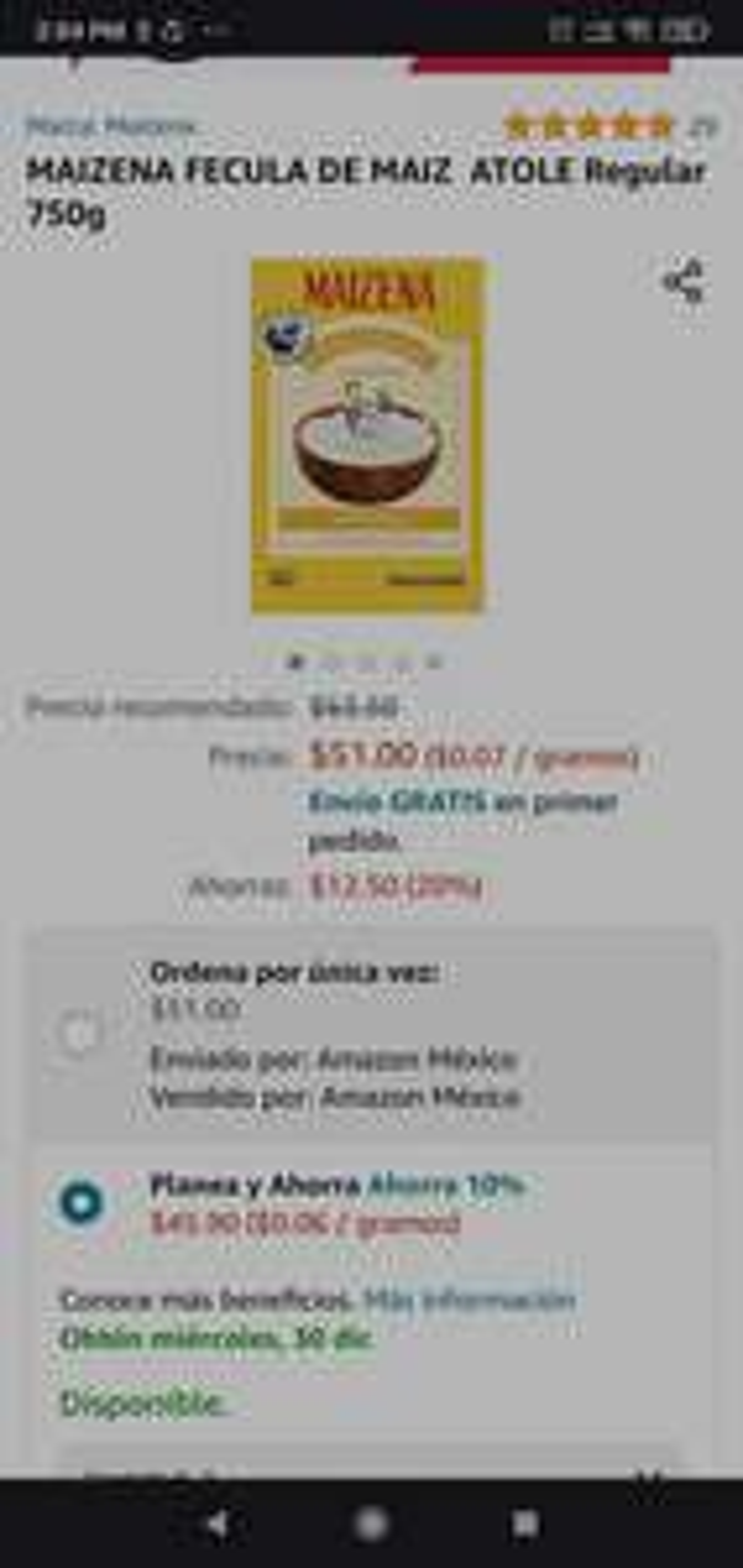 Amazon: Maizena 750grs