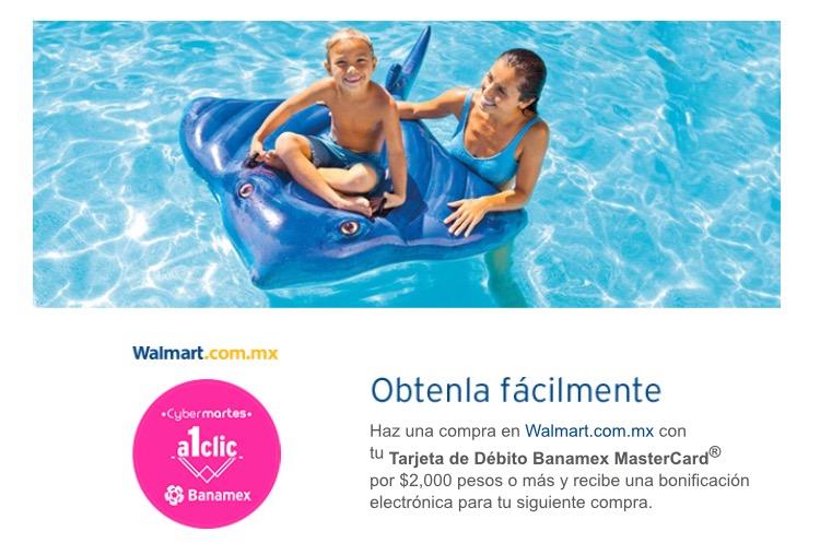 Walmart Cybermartes Banamex: bonificación de $600 en compras de $5,000 + 18 MSI o $300 en compras $2,000