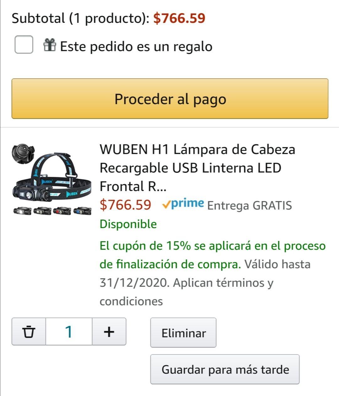 Amazon: WUBEN H1 Lámpara de Cabeza Recargable USB Linterna LED Frontal