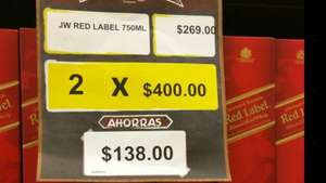 Superama Heriberto frías: Whisky johnny walker RED LABEL 2 x $400
