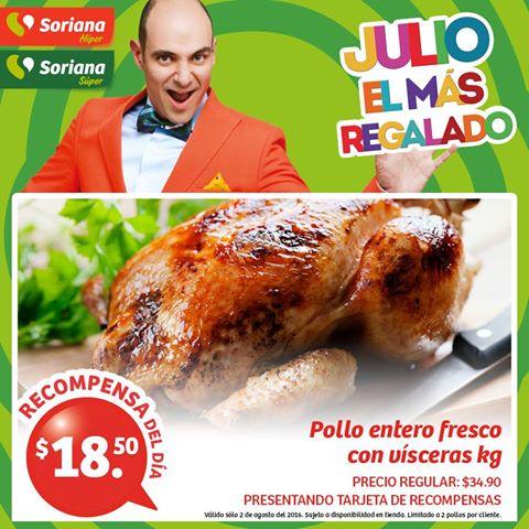 Soriana Híper y Súper: Recompensa Martes 2 Agosto: Pollo Entero Fresco con Vísceras $18.50 kg.