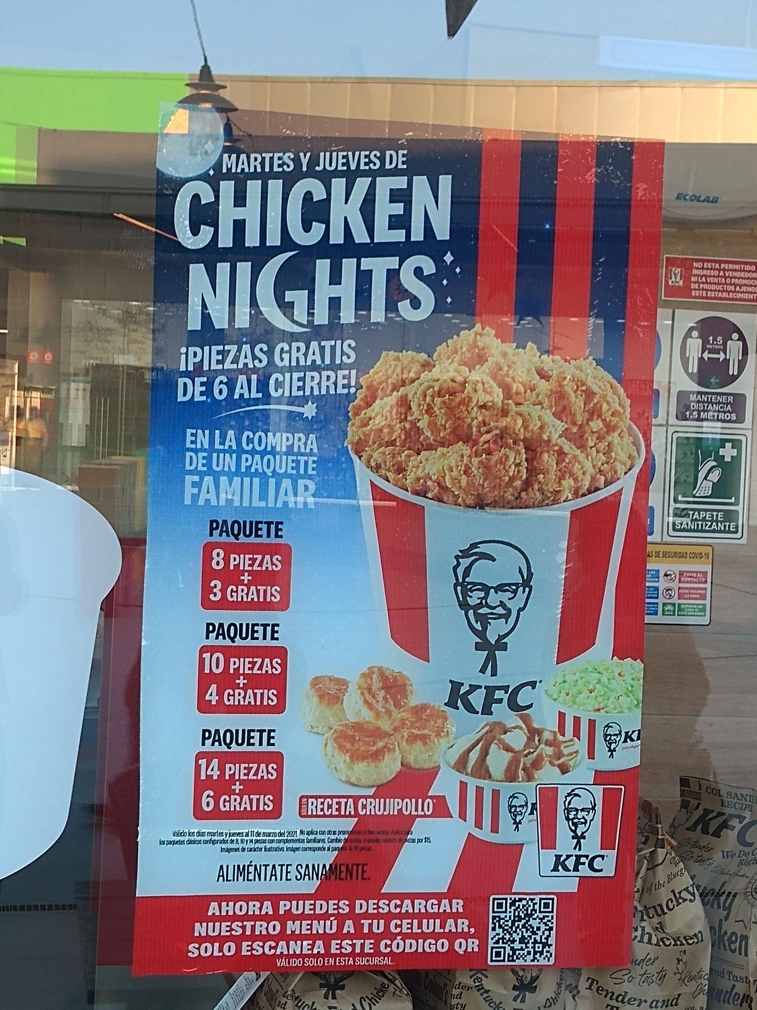 KFC: regresa Martes y Jueves de Chicken Nights