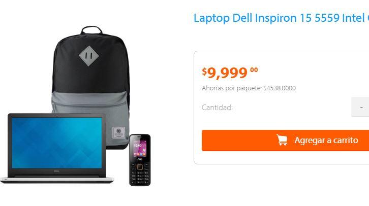 Walmart en línea: paquete laptop Dell 15-5559 i5 8GB RAM 1TB +Backpack +Celular a $9,999