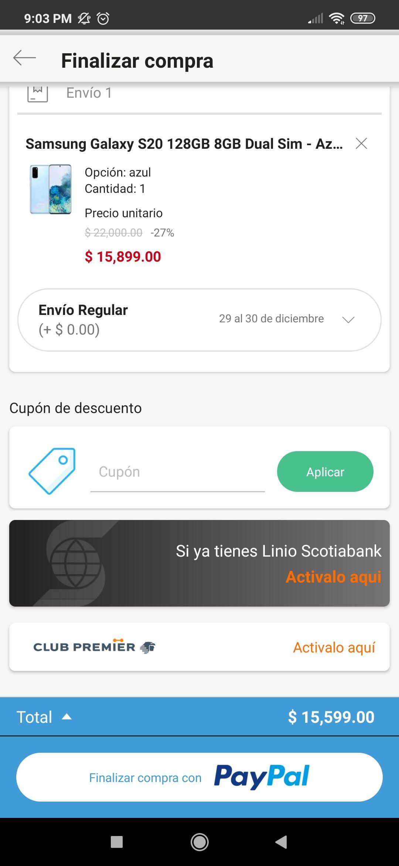 Linio: Galaxy s20 con Paypal+ bonificación banamex