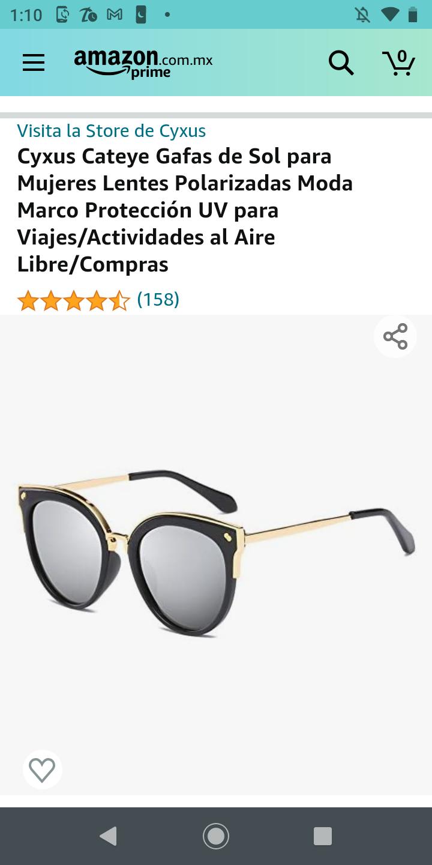 Amazon: Cyxus Cateye Gafas de Sol para Mujeres Lentes Polarizadas Moda Marco Protección UV para Viajes/Actividades al Aire Libre/Compras
