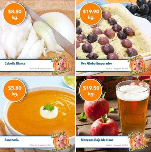 Chedraui: MartiMiércoles de FrutiVerduras 02 y 03 de Agosto: Zanahoria $5.80, Cebolla $8.80, Manzana $19.50 y Uva $19.90 kg.