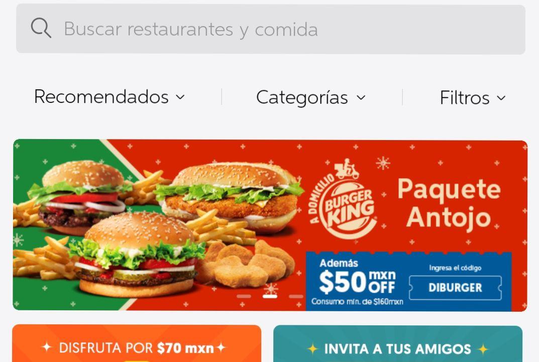 DiDi Food: cupón de $50 para ordenar en Burger King