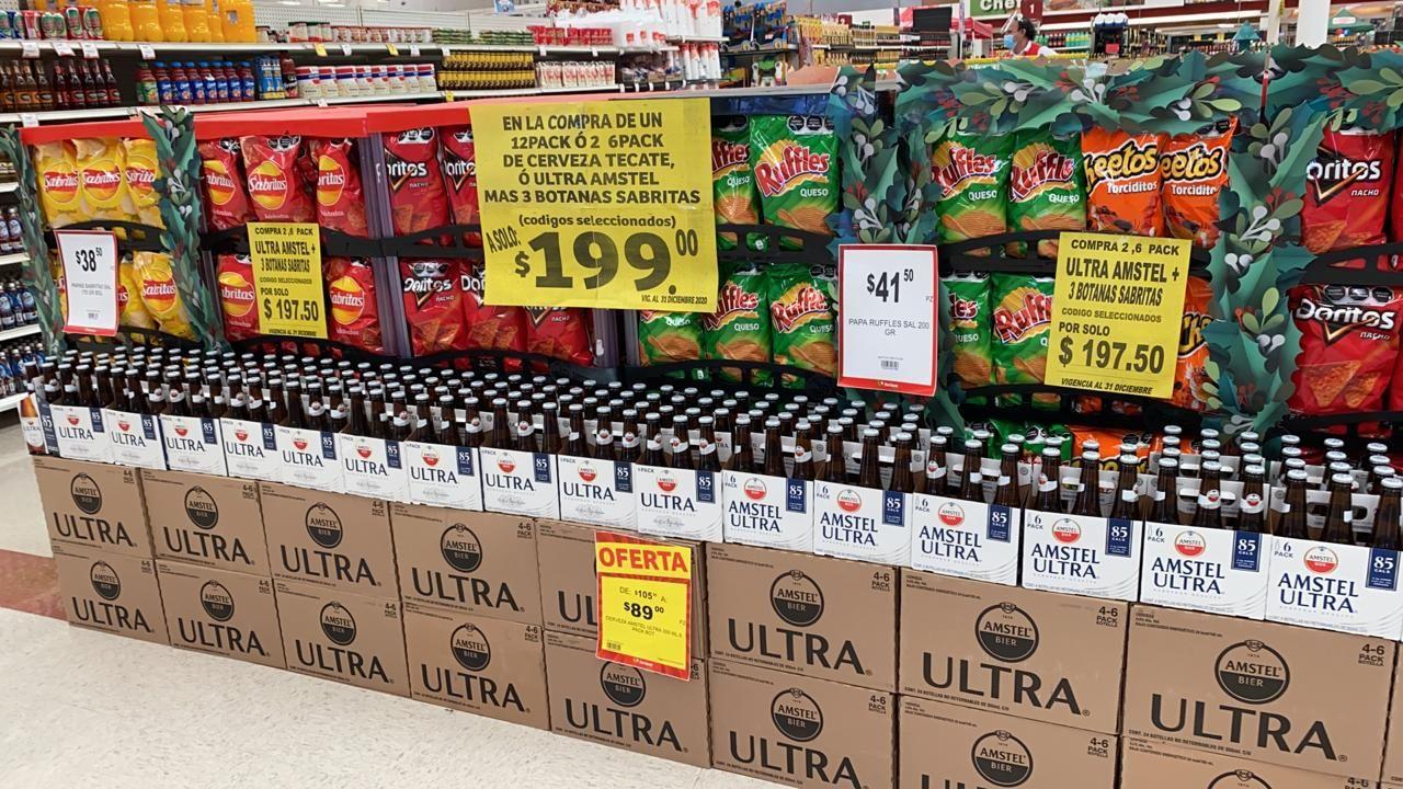 Soriana Tampico: 3 botanas sabritas gratis en la compra de 1 doce pack o dos six pack de cerveza Tecate o Amstel