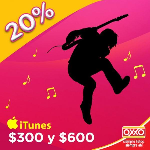 Tiendas Oxxo: 20% de descuento en tarjetas iTunes