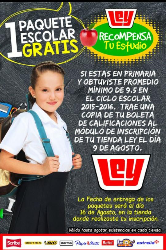 Tiendas Ley: útiles escolares gratis presentando copia de boleta con calificación igual o mayor a 9.5
