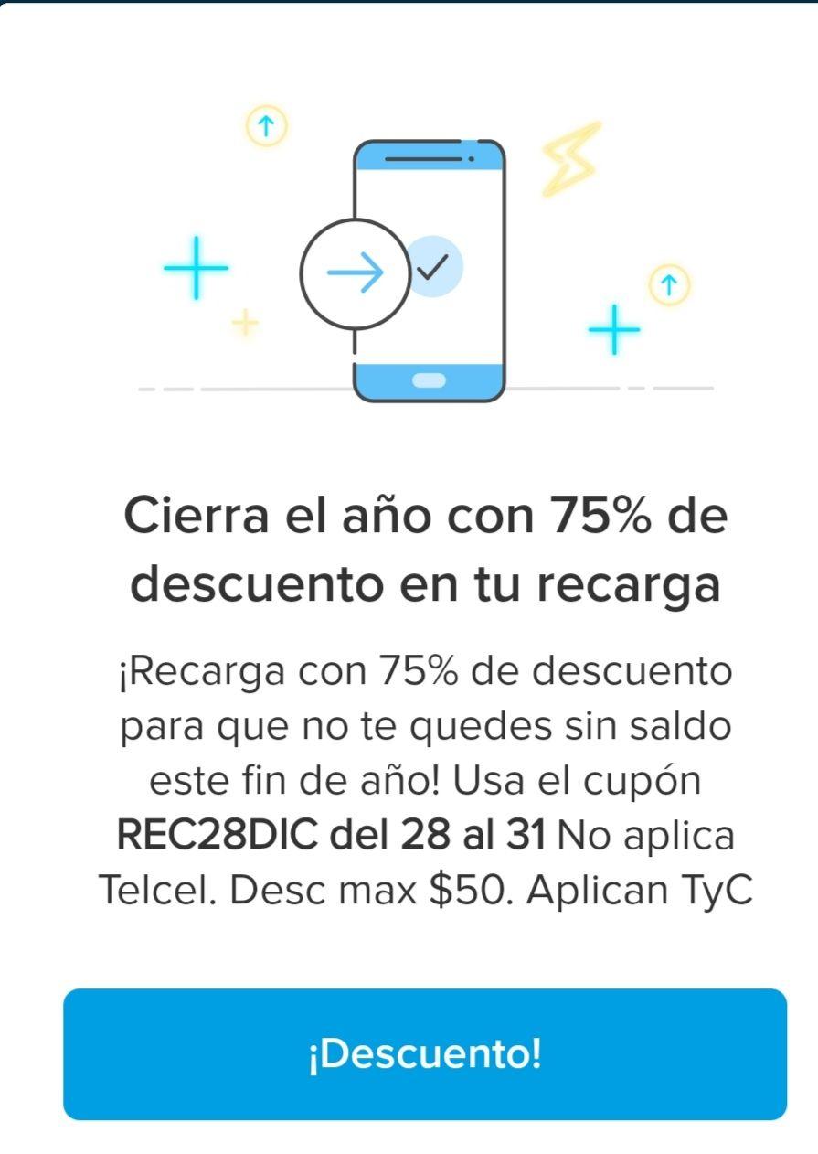 Mercado pago 75% de Descuento en tu Recarga (Máx. $50), Nuevos usuarios wallet