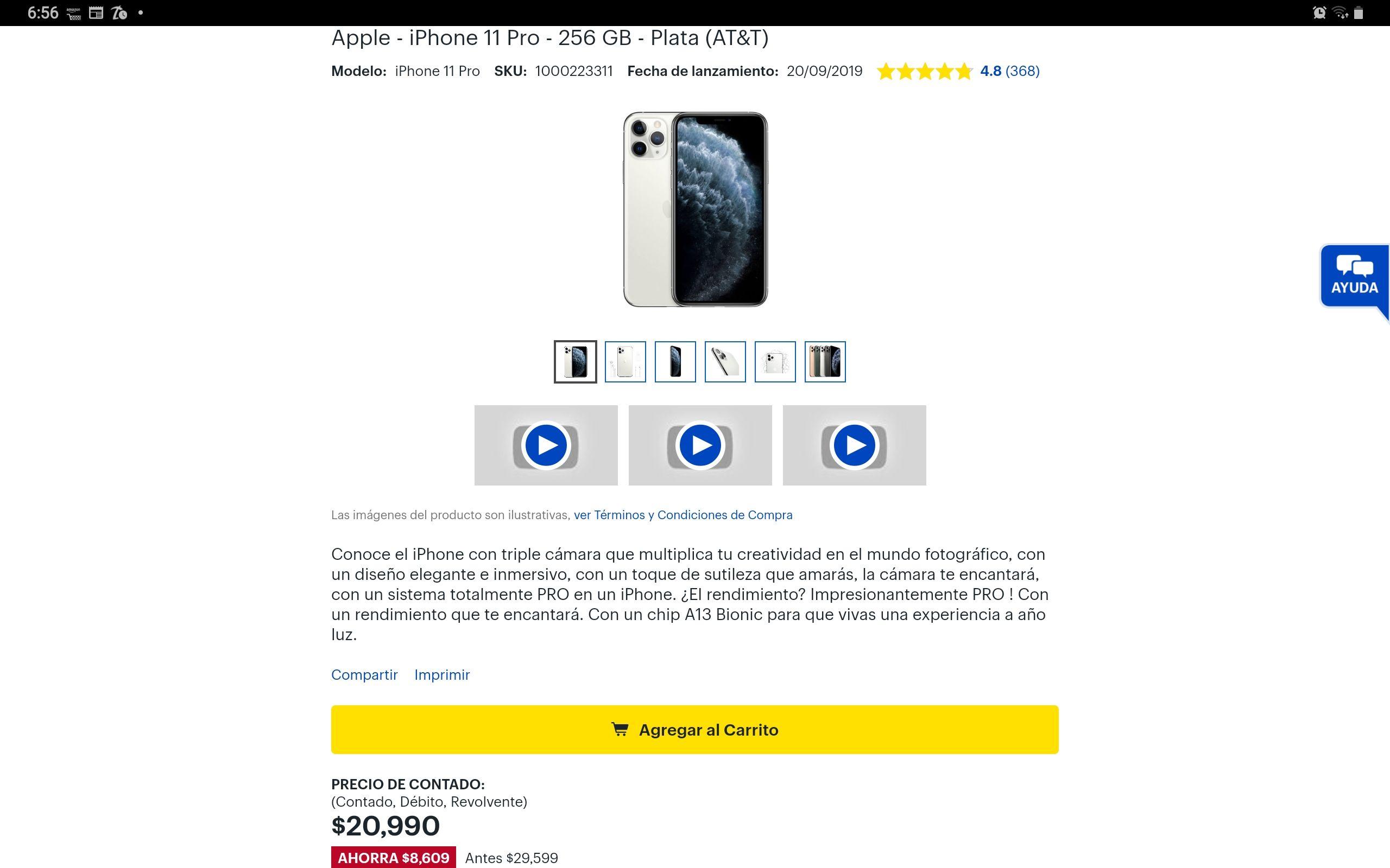 Best Buy: iPhone 11 Pro 256gb Excelente precio!!! Paypal y Banamex