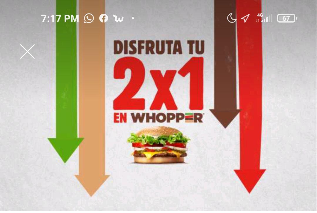 Burguer king 2x1 en whopper cn queso solo en app BK aplica para toda la república
