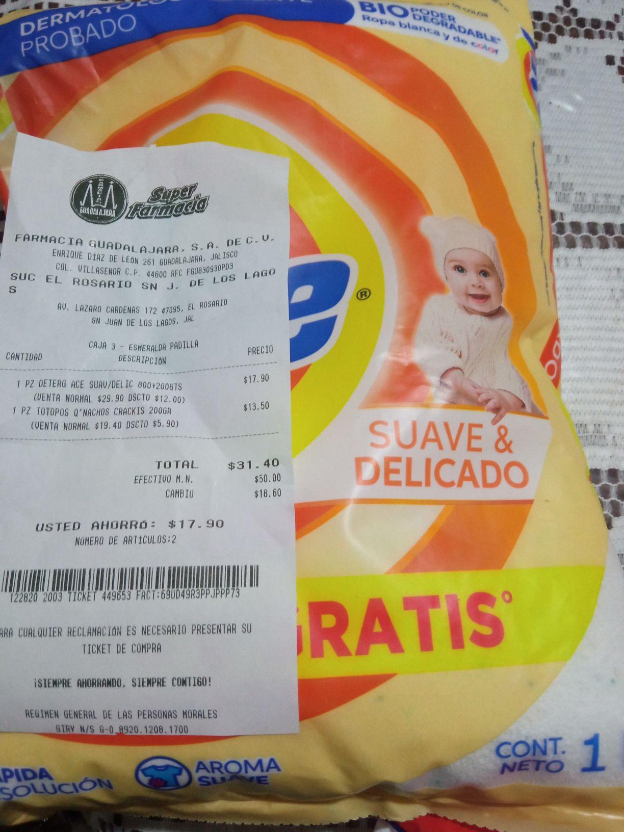 Farmacia Guadalajara ACE 1 kg suave delicado por 17.9 precio regular 30