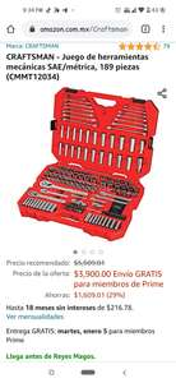 AMAZON: Juego de herramientas CRAFTSMAN mecánicas SAE/métrica, 189 piezas (CMMT12034)