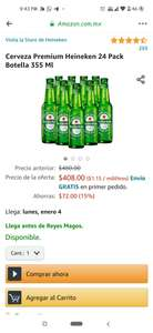 AMAZON: Cerveza Premium Heineken 24 Pack Botella 355 Ml