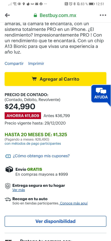 Best Buy: iPhone 11 pro Max gris 256 gb con Banamex