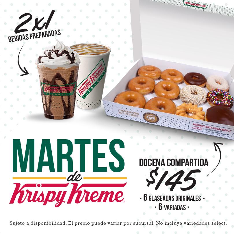 Krispy Kreme: 2x1 en todas las bebidas preparadas todos los martes y docena compartida $145