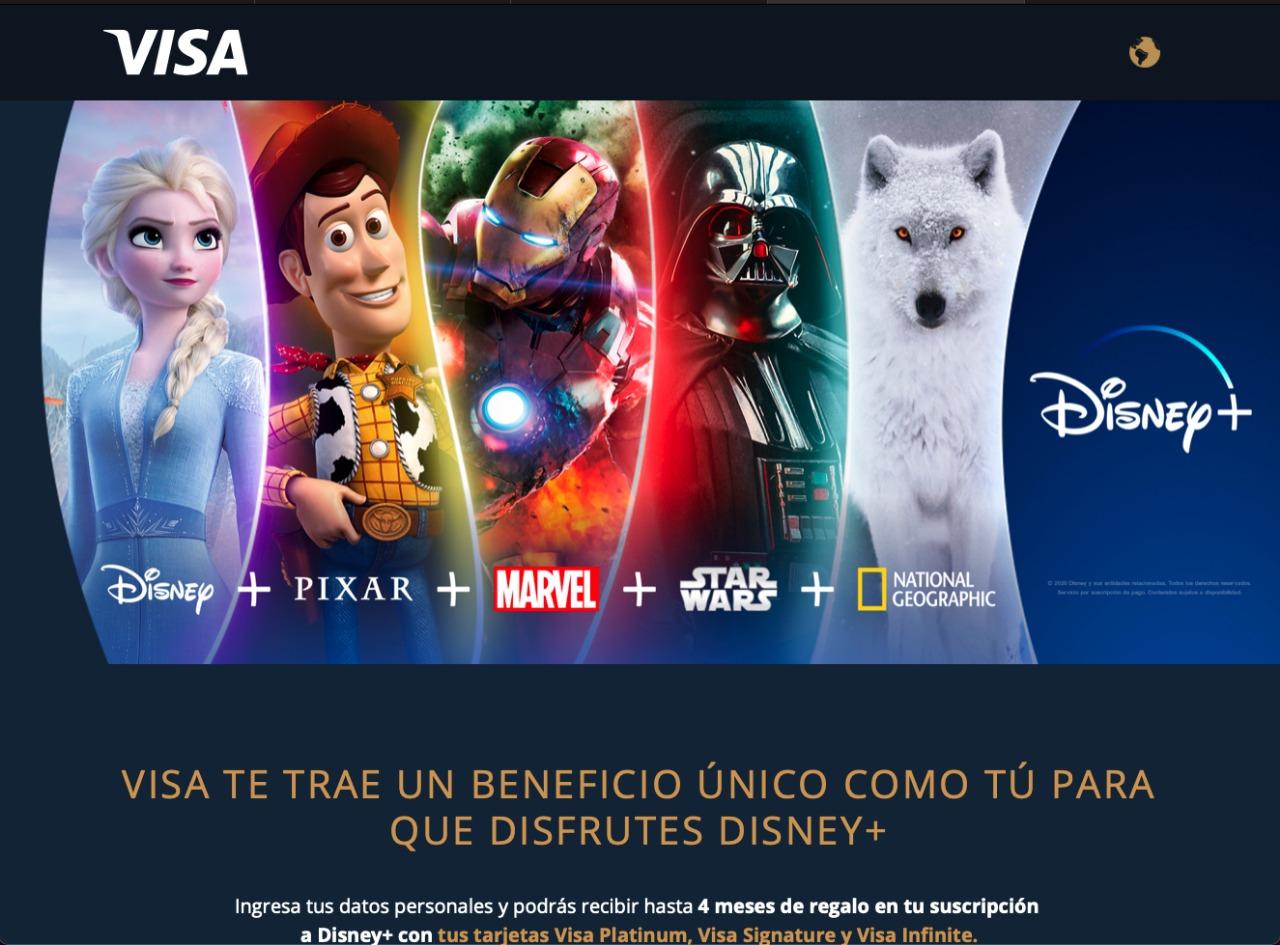 DISNEY+ 4 Meses Gratis con Visa Platinum, Visa Signature y Visa Infinite.