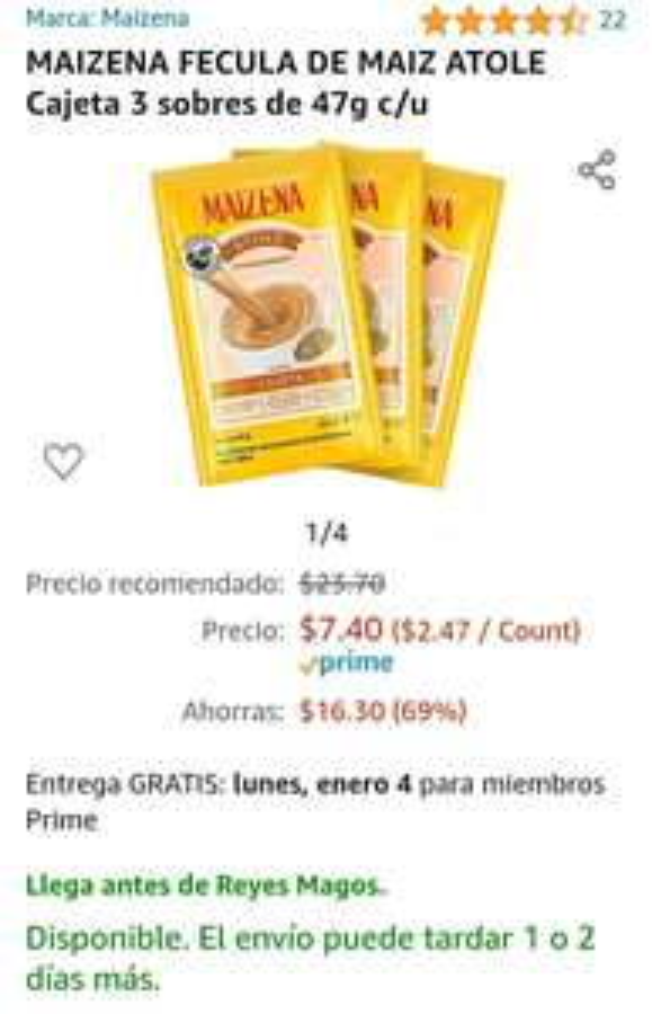 Amazon - Maizena 3 pack cajeta