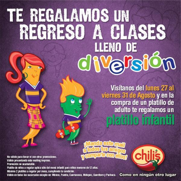 Chili's: gratis platillo infantil en la compra de un platillo de adulto con cupón