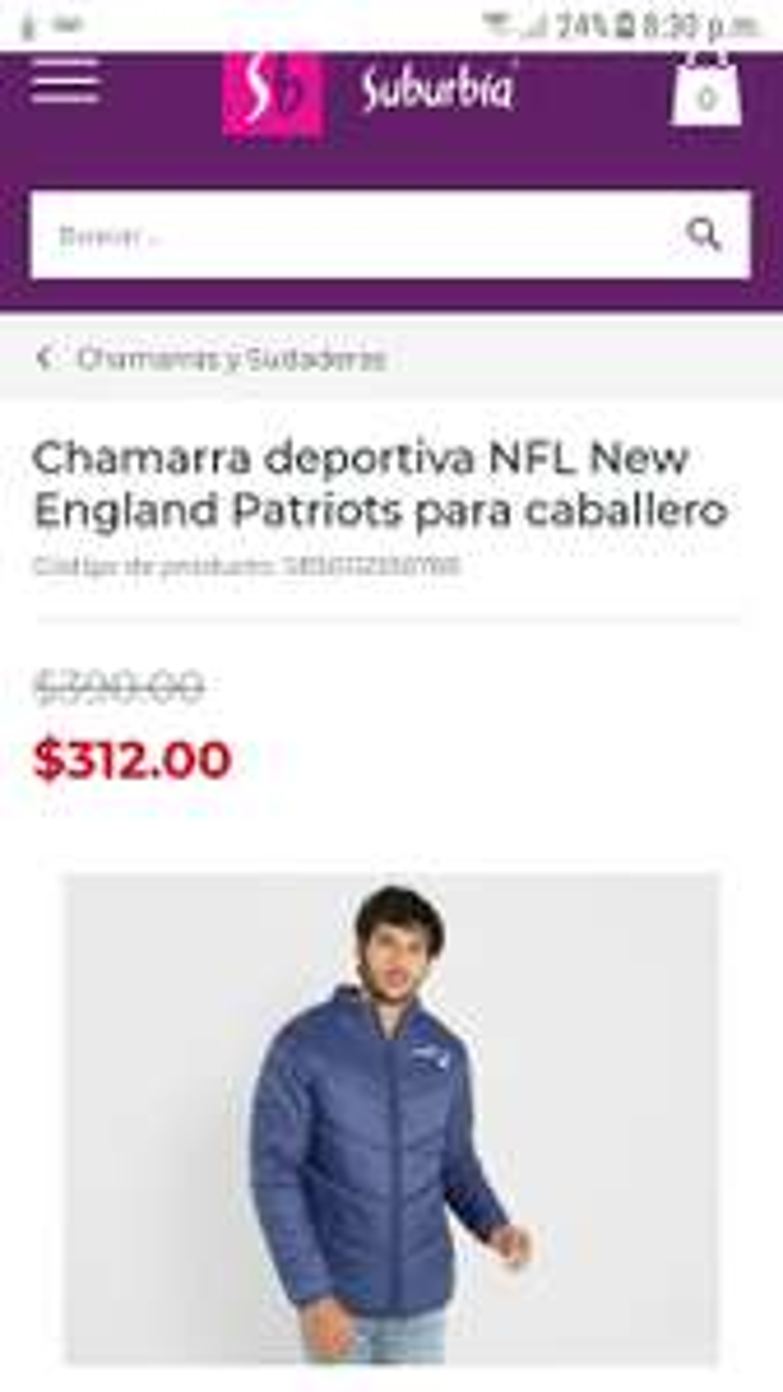 Suburbia: Chamarra deportiva NFL New England Patriots para caballero