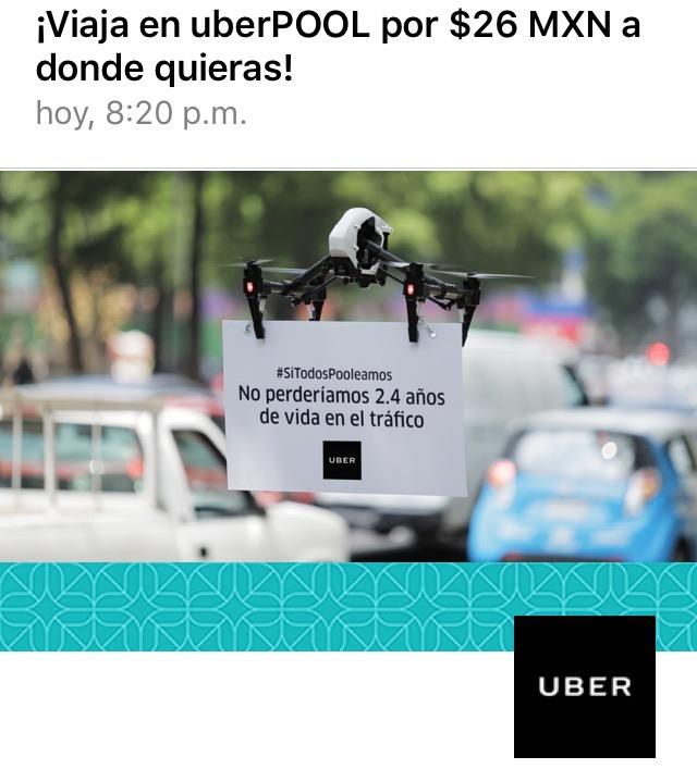 Uber: En agosto usa Uber pool y durante una semana todos tus viajes de Uber pool costarán $26