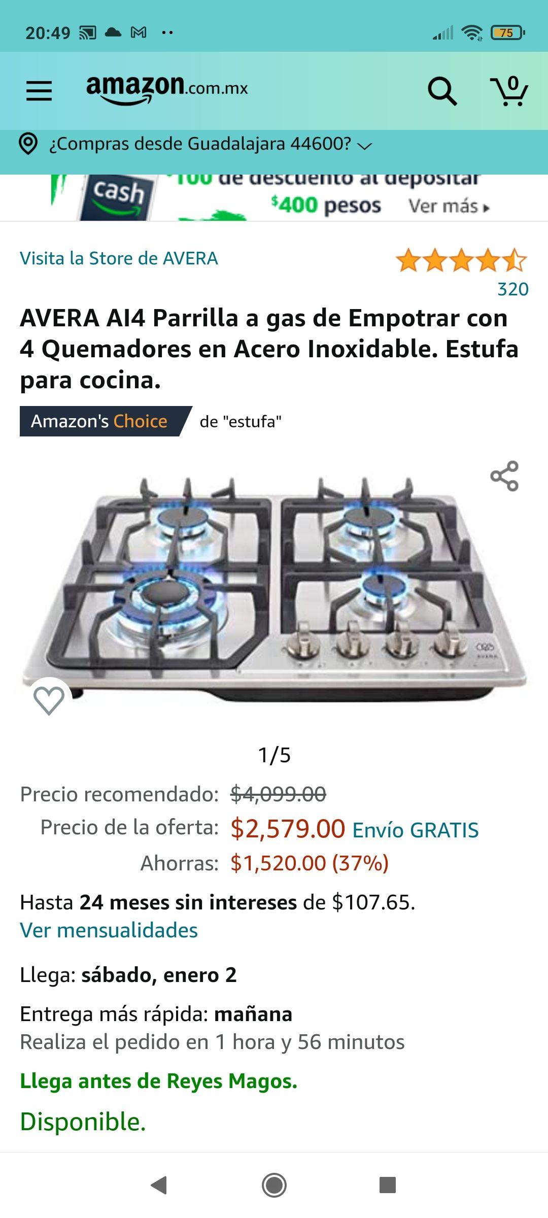 Amazon: AVERA AI4 Parrilla a gas de Empotrar con 4 Quemadores en Acero Inoxidable. Estufa para cocina.